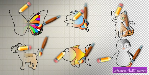 Videohive Animal Cartoon Paint - Motion Graphic