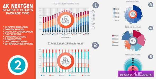 Videohive 4K NextGen Resizable Statistics Charts & Infographics Pack Two