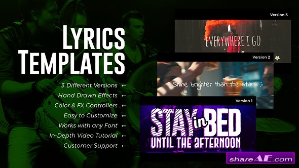 Videohive Lyrics Templates (3 Versions)