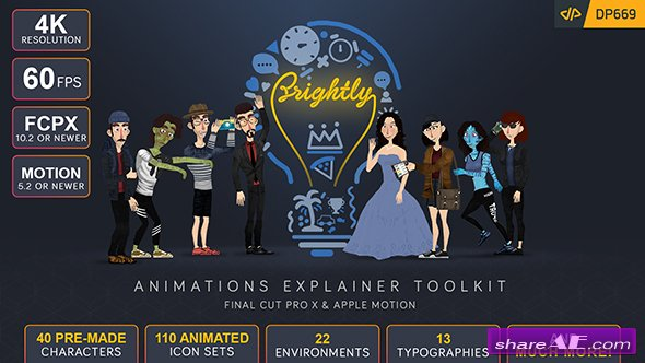 Videohive Brightly | Animations Explainer Toolkit - Final Cut Pro X & Apple Motion