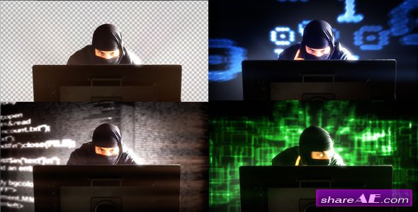 Hacker In Front Of Monitor's Computer - (4-Pack) - Stock Footage (Videohive)