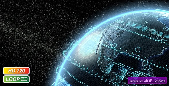 Videohive Digital Earth Globe - Motion Graphic