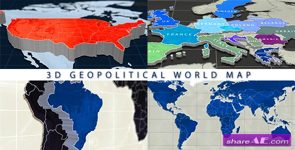 Map free after effects templates after effects intro template videohive 3d geopolitical world map gumiabroncs Image collections