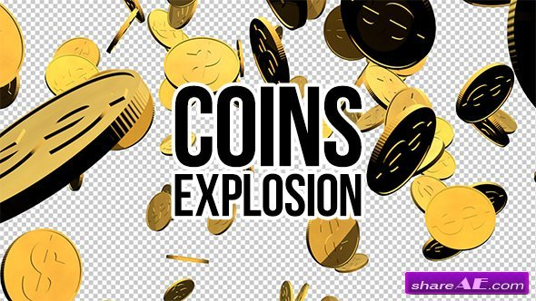 Videohive 3D Gold Coins Explosion - Motion Graphics