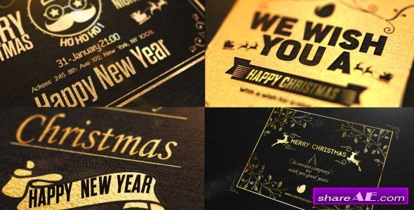 Videohive Christmas Golden Card