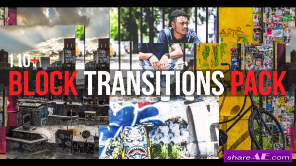 Videohive Block Transitions Pack | 110 +