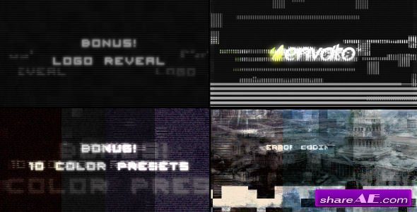 Videohive Digital Glitch effects and 10 color presets
