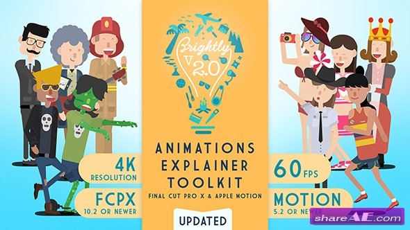 Videohive Brightly | Animations Explainer Toolkit for Final Cut Pro X - Apple Motion Templates