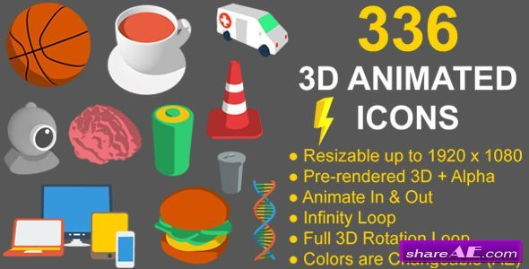 Videohive 336 Animated 3D Icons Pack