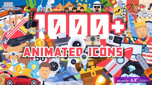 Videohive 1000+ Flat Animated Icons Pack