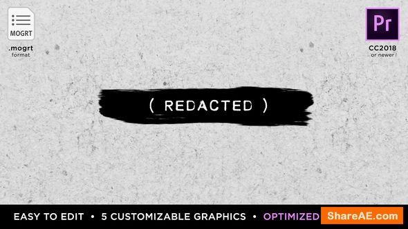 Videohive Redacted Titles | MOGRT for Premiere Pro