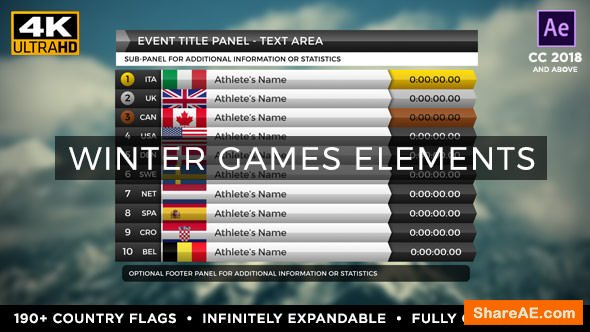 Videohive 2018 Winter Games Elements - Medal Tracker & Event Results - PyeongChang