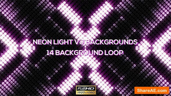 Videohive Neon Round Lights VJ Backgrounds - 14 Pack - Motion Graphic