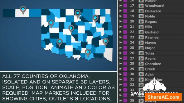 Videohive Oklahoma Map Kit
