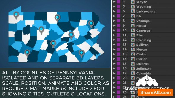 Videohive Pennsylvania Map Kit