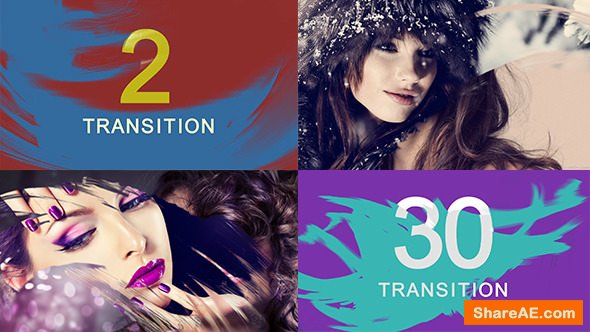 Videohive Oil Paint Brush Transition Pack