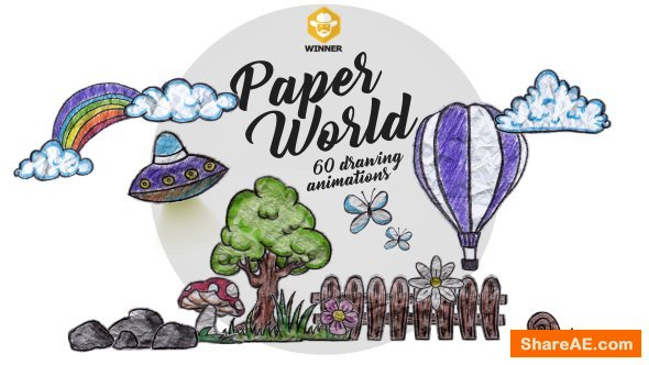 Videohive Paper World (Over 60 Drawing Animations)