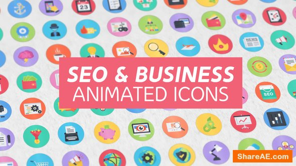 Videohive 100 Seo & Business Modern Flat Animated Icons