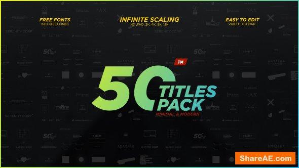 Videohive 50 Minimal & Modern Titles Pack