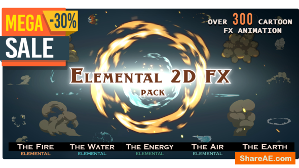 Videohive Elemental 2D FX pack [300 elements] - Motion Graphics
