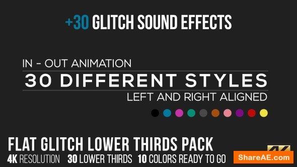 Videohive Flat Glitch Lower Thirds + 30 Glitch Sound Effects