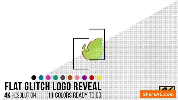 Videohive Flat Glitch Logo Reveal