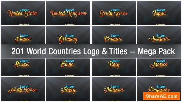 Videohive 201 World Countries Logo & Titles - Mega Pack