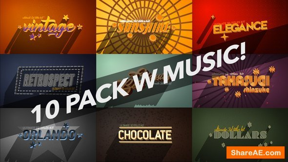 Videohive 4K Vintage Retro 10 Logo Text Intro Pack