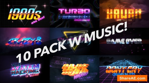 Videohive 4K 1980s 10 Logo Text Intro Pack