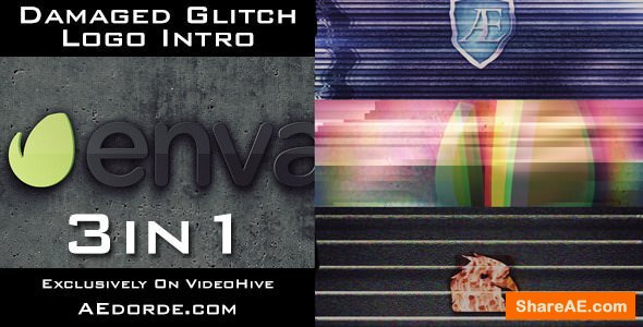Videohive Damaged Glitch Logo Intro - 3in1 Pack