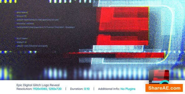 Videohive Epic Digital Glitch Logo Reveal
