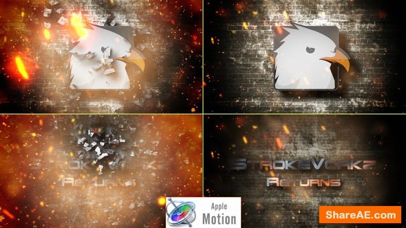 Videohive Cinematic Fire Impact Logo - Apple Motion Templates