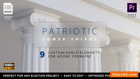 Videohive Patriotic Titles & Lower 3rds | Mogrt - Premiere Pro