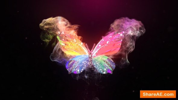 Videohive Glowing Butterfly Logo Reveal