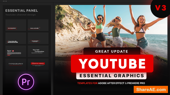 Videohive Youtube Essential Library | MOGRT - Premiere Pro