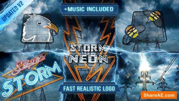 Videohive Neon Storm Logo Intro