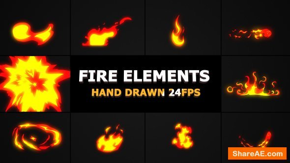 Videohive Hand Drawn FIRE Elements 24 fps