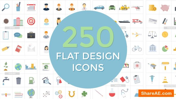 Videohive Flat Design Icons