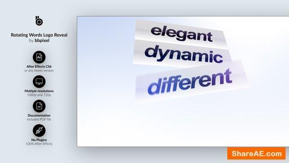 Videohive Rotating Words Logo Reveal