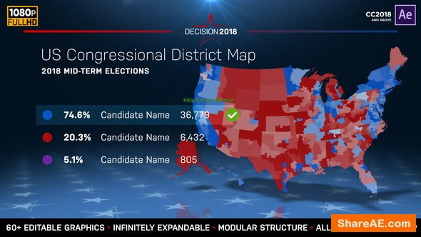 Videohive 2018 Midterm Election Map | State Congressional Districts