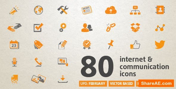 Videohive 80 Animated Internet Icons