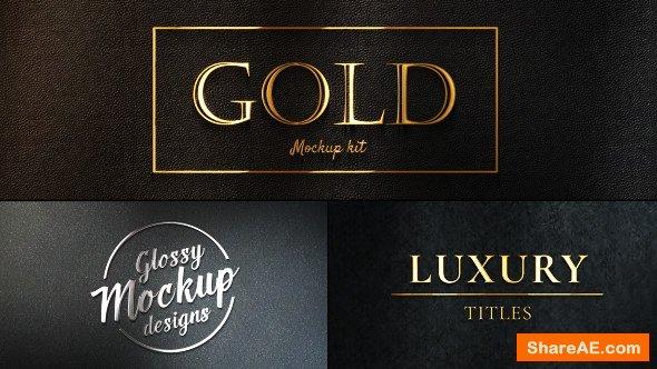 Videohive Gold Mockup Kit - Glossy Logo & Titles