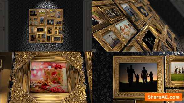 Videohive Golden Frames Photo Gallery Kit