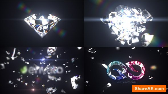 Videohive Shattered Diamond Logo Text Reveal