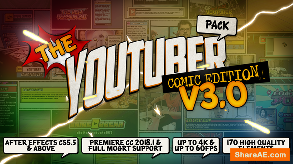 Videohive The YouTuber Pack - Comic Edition V3.0 [Update 17 December 18]