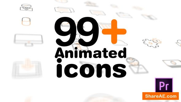 Videohive 99+ Icons Mogrt - Premiere Pro