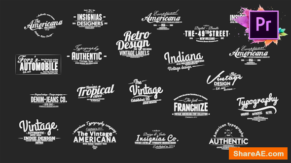 Videohive Vintage Typography Pack 26 Animated Badges | Mogrt - Premiere Pro
