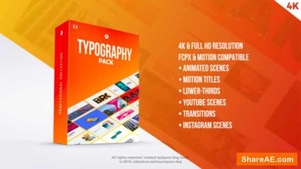 Videohive Typography Pack PRO | FCPX - Apple Motion