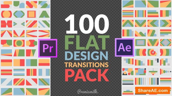 Videohive Flat Design Transitions Pack | Mogrt - Premiere Pro