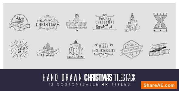 Videohive Hand Drawn Christmas Titles Pack